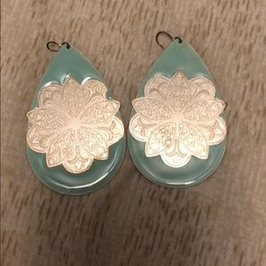 Teal and silver flower earrings